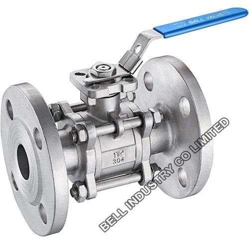 Stainless steel 3 piece flanged ball valve