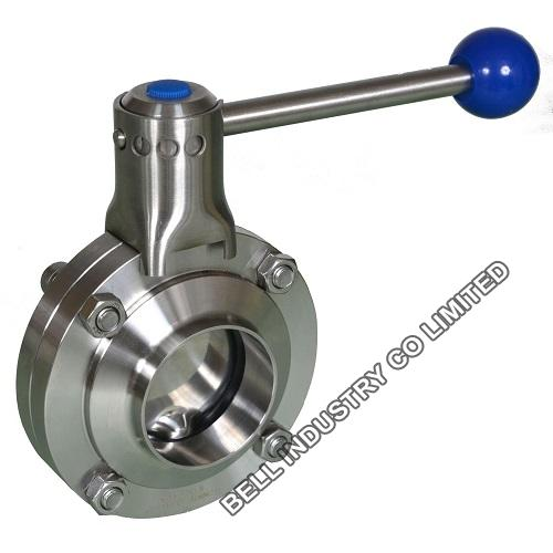 Hygienic stainless steel butterfly valve